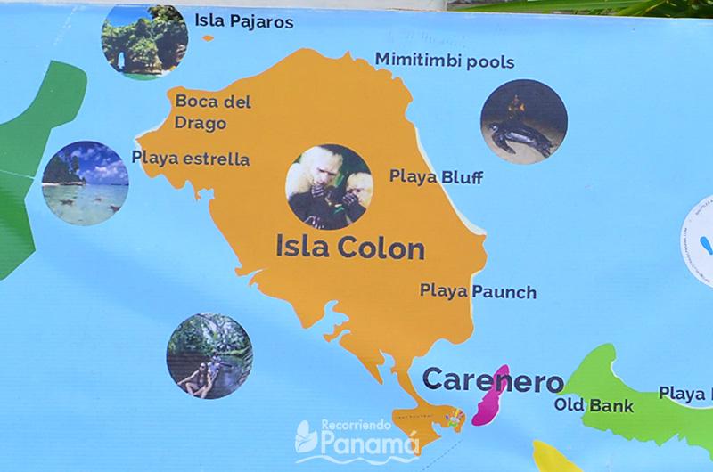 Mapa de Isla Colón.