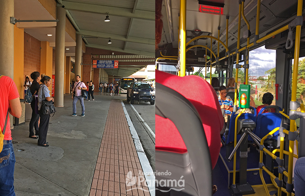 Izquierda: Parada del Metrobus en la Terminal de Albrook. Derecha: dentro del Metrobus.