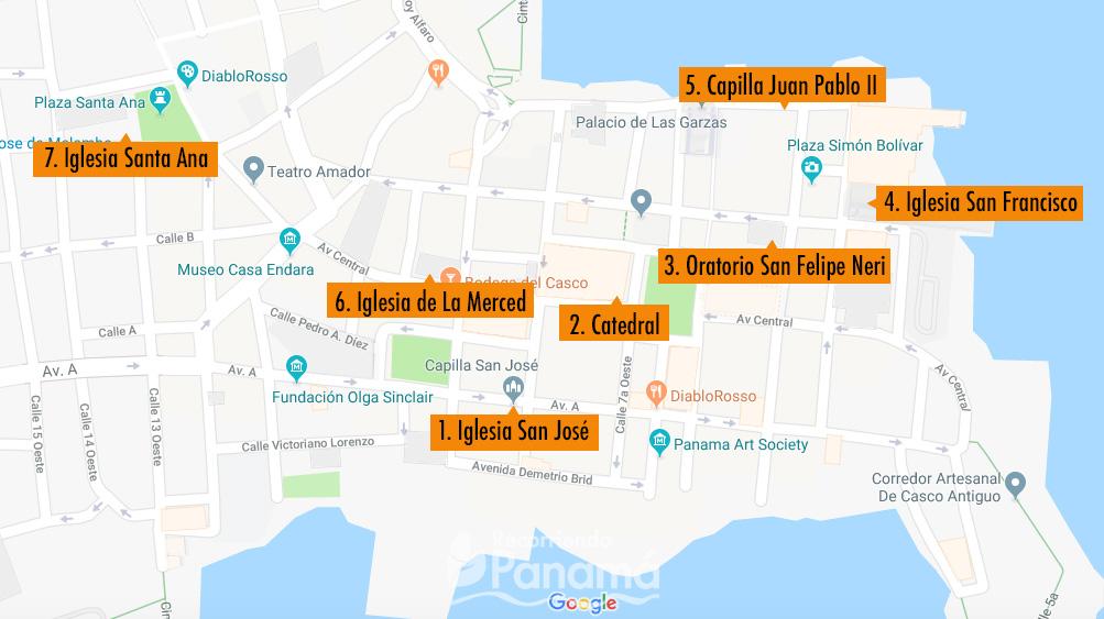 Mapa de las Iglesias del Caso Antiguo.