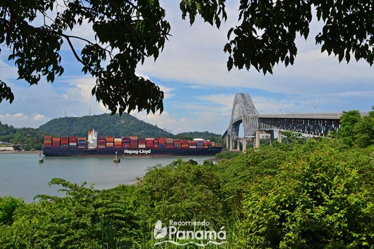 Vista a buque Neopanamax pasando debajo del Puente de las Américas.