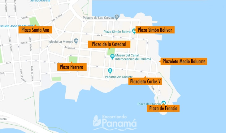 Mapa de Plazas del Casco Antiguo