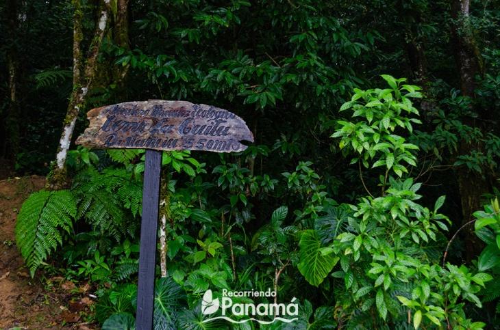 Letrero en la entrada del Sendero Mirador Ecológico.