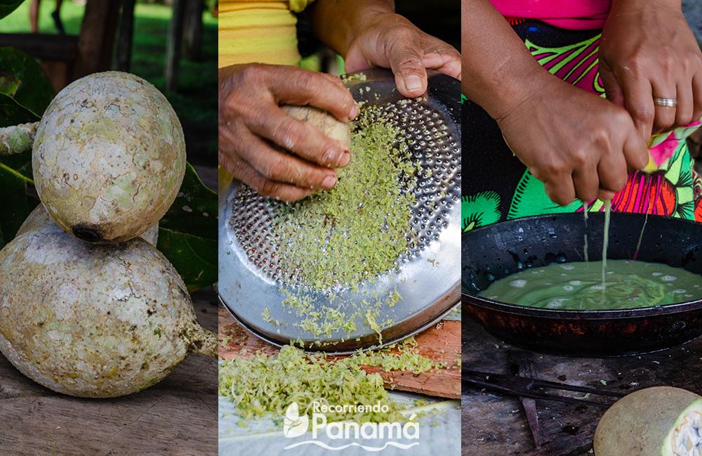 Foto de la izquierda: fruta de jagua. Centro: se raya la jagua. Derecha: se exprime la fruta rayada.
